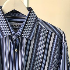Bugatchi Mens Long Sleeve Striped Dress Shirt L